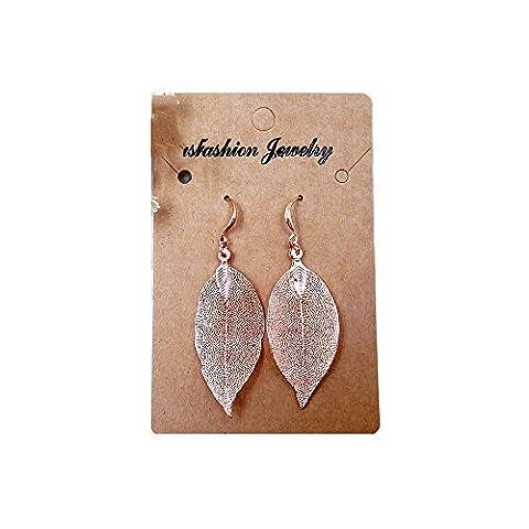 VANKER 1 Pair Silver & Rose Gold Plated Leaf Pendant Dangle Earrings Costume Jewellery(Rose gold)