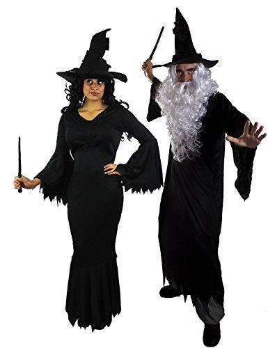 Halloween Ideen Gruppe Kostüm Große Erwachsene Für (PAARE KOSTÜM FÜR BÖSE HEXE UND BÖSER ZAUBERER TOLL FÜR HALLOWEEN ODER KARNEVAL = ZAUBERER KOSTÜM BESTEHEND AUS = ROBE/PERÜCKE/BART/ZAUBERHUT/ZAUBERSTB= HEXEN KOSTÜM BESTEHEND AUS=SCHWARZEM LANGEN GOTHIC KLEID/HEXEN HUT /ZAUBERSTAB= BY)