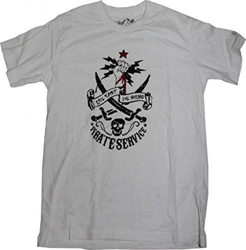 Pirate Service Skateboard T-Shirt White/ Skull, Grösse:S (White Pirate Shirt)