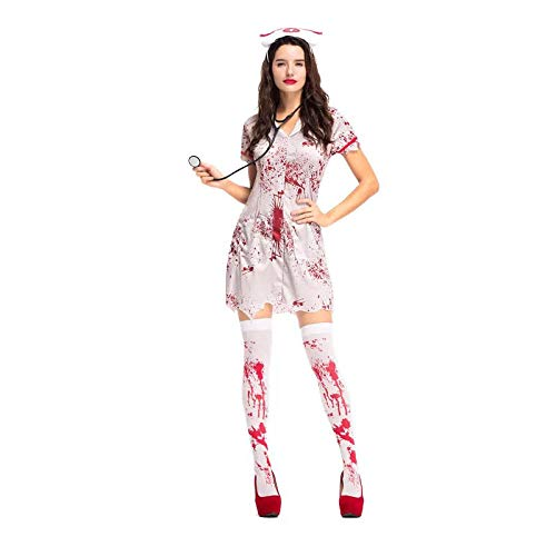 wnddm Teen Girls & Women Halloween Horror Krankenschwester Zombie Kostüm Scary Bloody White Dress Uniform Phantasie Kleidung Outfit für Frauen@Einheitsgröße (Teen Krankenschwester Kostüm)