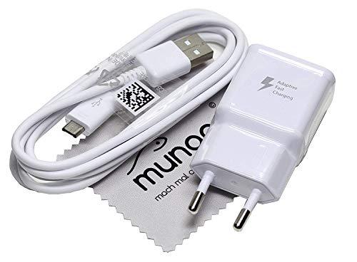 Ladegerät für Original Blitz Schnell Samsung 2A USB + 1,5m Daten Ladekabel für Samsung Galaxy A7 2018 (A750F) mit mungoo Displayputztuch - Samsung Schnelle Handy-ladegerät