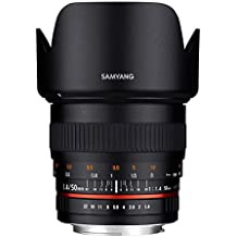 Samyang F1111103101 - Objetivo fotográfico DSLR para Nikon F (distancia focal fija 50mm, apertura f/1.4-22 AS UMC, diámetro filtro: 77mm), negro