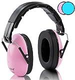 NENI Kinder Gehörschutz in Pink Oder Blau - Premium Kapselgehörschutz von 1 bis 16 Jahre - mitwachsende und Verstellbare Ohrenschützer inkl. Reinigungstuch