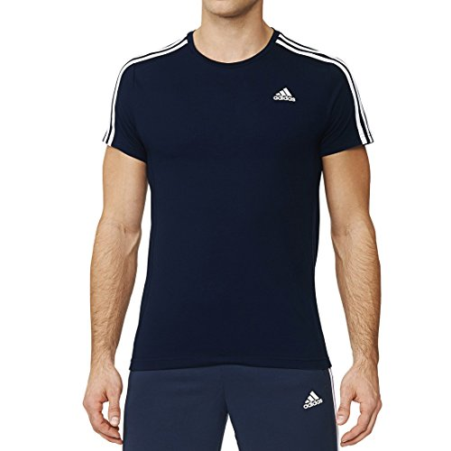 adidas Herren T-Shirt Essentials 3-Stripes, Collegiate Navy/White, L, AK1734
