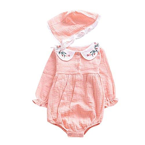 Moonuy La manga larga sólida de la manga larga de la muchacha del cabrito del O-Cuello del algodón recién nacido + la ropa del equipo del mono del casquillo (Pink, 70)
