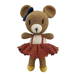 LOOP BABY gehäkelter Teddy-Bär Bettina in blau – gehäkeltes Kuscheltier Baby/Mädchen/Junge aus Baumwolle