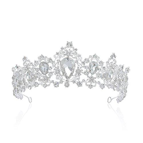 SWEETV Luxus Prinzessin Diadem Hochzeit Krone Braut Tiara mit Kristalle für Festzug Prom, Silber+Transparent