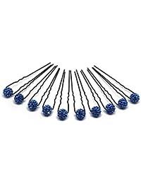 10 x horquilla de diamantes de imitación - Joyas para el cabello - Set negro - Azul
