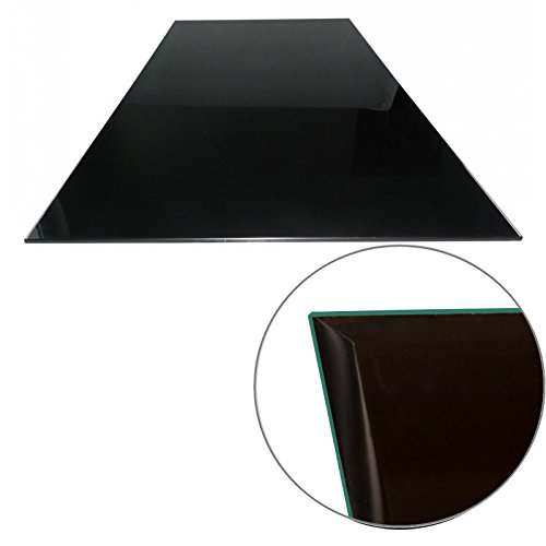 Euro Tische Glasplatte für Kaminofen - Glasscheibe mit 6mm ESG Sicherheitsglas - perfekt geeignet als Funkenschutzplatte - Verschiedene Größen (100x50cm, Schwarz) - Schwarz Kamin