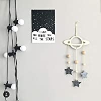 Nordic Style Hollow Planetary Silver Stars Hanging Decorations Hollow Clouds Hanging Curtains for Kids Room Bedroom Birthday Party Wall Home Decor Hanging Decor Wind Chimes