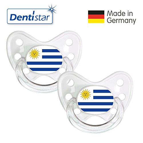 Preisvergleich Produktbild Dentistar® Silikon Schnuller 2er Set inkl. 2 Schutzkappen - Nuckel Größe 3, ab 14 Monate – Fahnen Fan Kollektion – Uruguay