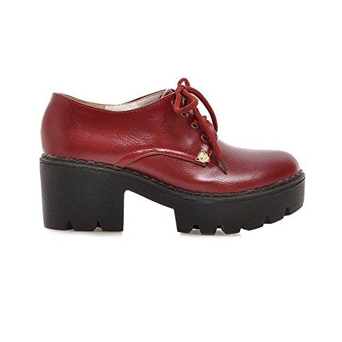 VogueZone009 Femme Pu Cuir Mosaïque Lacet Rond à Talon Correct Chaussures Légeres Rouge