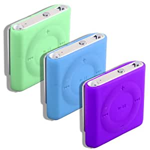 3 Pack Shuffle Silicones Blue Green + Purple For The New 2010 Apple Ipod Shuffle