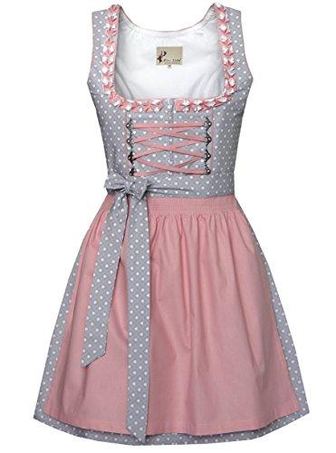 Alte Liebe Trachtenkleid 2tlg. Dirndl Kleid 34,36,38,40,42,44,46, Grau, 34