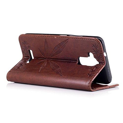 Für Asus Zenfone 3 Max ZC520TL Case Cover, Premium Soft TPU / PU Leder geprägt Ahorn Muster Brieftasche Case mit Halter & Cash Card Slots & Lanyard ( Color : Rose Gold ) Brown