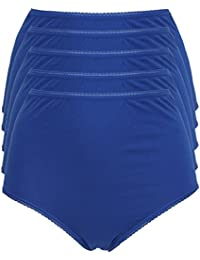 Ex Store Multipack Cotton Full Briefs Knickers 5 Pack Bright Blue 8