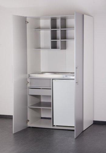 Mebasa MK0011S Schrankküche, Miniküche, Single Küche in Silber/Grau mit weißem Korpus 100 cm mit Kühlschrank, Spüle und Glaskeramikkochfeld des Herstellers Mebasa