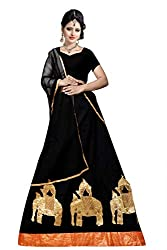 Florence Womens Art Silk Black Embroidery Lehengha Choli(LG030)