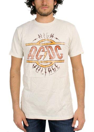 AC/DC - AC / DC - High Voltage Herren Fitted T-Shirt im Vintage-Weiß Vintage White