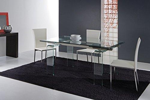 Tavolo allungabile in cristallo design soggiorno salotto for Tavolo salotto