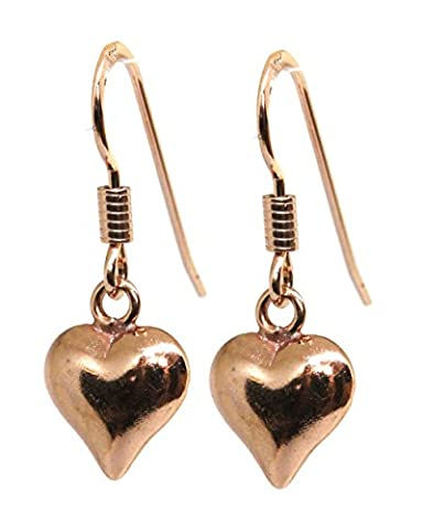 Rose Gold Heart Drop Earrings with Sterling Silver Vermeil - Made by Black Moon