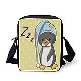 KLYDH Cartoon,Sleepy Baby Penguin in Hood Ready to Bed Childhood Happy Dream Cartoon Art,Yellow Grey White Print Kids Crossbody Messenger Bag Purse