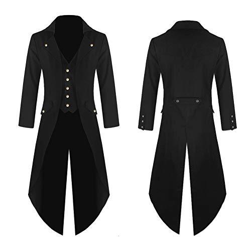 Damen Herren Mantel Frack Jacke Gothic Gehrock Uniform Kostüm Praty Outwear,Black,XXL