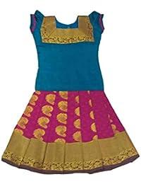 66aa0bf707 Pattu Pavadai Traditional Silk Dress (Blue and Pink)