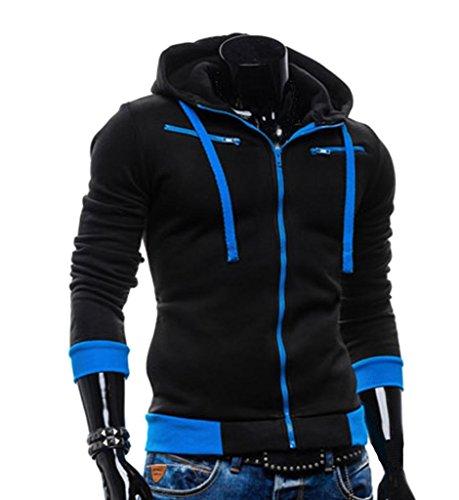 WEIYI H135Herren Jacke Casual Fleece Full Zip Hoodie, Herren, schwarz