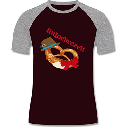 Oktoberfest Herren - Aufgebrezelt Wiesn - zweifarbiges Baseballshirt für Männer Burgundrot/Grau meliert