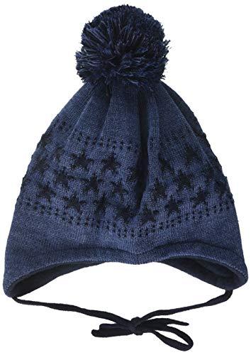 maximo Baby-Jungen mit Sternenmotiven und Pompon und Bindeband Mütze, Blau (Indigomel. 4), (Herstellergröße: 49)