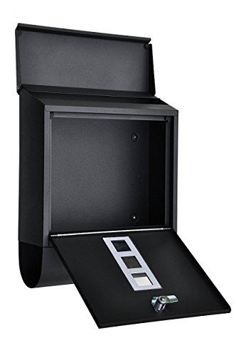 """nanook """"Piazza"""" Briefkasten schwarz – pulverbeschichtet – mit Zeitungsfach – 38,5 cm – für große Briefe und Zeitschriften - 3"""