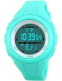 TOPCABIN 50M Waterproof Digital Teenagers Students Sports Watch Boy Girl LED Alarm Wristwatch Electronic Sport Watch for Boys Teenagers Junior Girls Light Blue