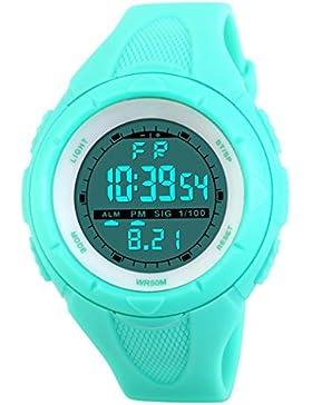 TOPCABIN 50M wasserdicht Digital Studenten Sport Watch junge Mädchen Alarm LED Armbanduhr hellblau