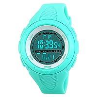 TOPCABIN 50M Waterproof Digital Students Sports Watch Boy Girl LED Alarm Wristwatch Light Blue