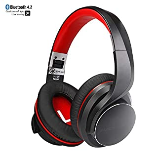 Ausdom Wireless Over Ear Headphones, 4.2V Bluetooth Headset Apt-X Low Latency with Noise Cancelling Mic, 3.5mm Hi-Fi Stereo Folding Overhead with 16 Hr Playing Time for Phone, TV, PC, Tablet