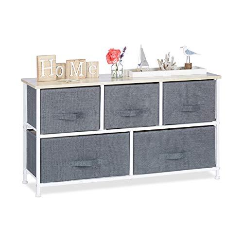 Relaxdays Regalsystem, 5 Stoff-Schubladen, HxBxT: 54,5 x 100 x 30 cm, universale Schubladenbox, Metall und Holz, grau
