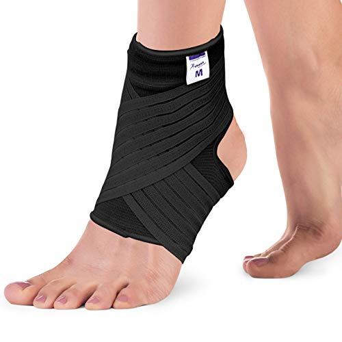 Actesso Elastische Knöchel Bandage - Sprunggelenk mit Wickelband. Die Ultimative Fussbandage für zerrungen, verstauchungen und Sport (Schwarz, Mittlegröß (22-25 cm))