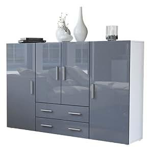vladon highboard sideboard nora korpus in wei matt front in grau hochglanz vladon. Black Bedroom Furniture Sets. Home Design Ideas