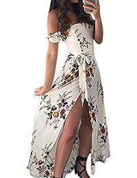 c9b08d4777f Z Femmes Robe Maxi épaules dénudées Boho à imprimé Floral Taille Empire ...