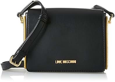 Love Moschino Borsa Calf Pu Nero+tpu Oro - Borse Baguette Donna, Gold (Black Pu-gold), 15x17x6 cm (B x H T)