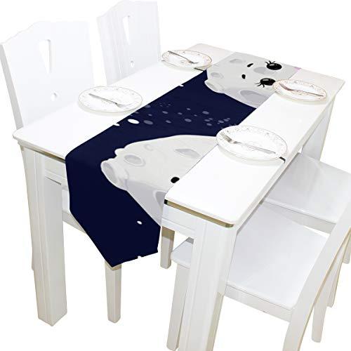 Yushg Schöne Vollmond Planet Nachthimmel Kommode Schal Tuch Abdeckung Tischläufer Tischdecke Tischset Küche Esszimmer Wohnzimmer Home Hochzeitsbankett Dekor Innen 13x90 Zoll