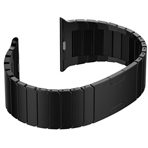 Ontube para Apple Watch Correa - Desmontar Acero Inoxidable Bracelete Reemplazo iWatch Band de Reloj de con Hebilla Plegable de Doble Botnnes Pulsera para Apple Watch 42mm(Todos los Modelos Series 1/2) Negro