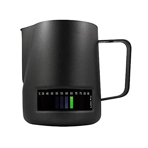 Milchkanne Schwarzer Temperiermilch-Texturierkrug mit Thermometer und 3 Farbanzeigetasten 600 ML - Milchschaumkrug zum Dämpfen von Milch Milchkännchen für perfekte Barista-Stil, Milchkaffee Latte Art
