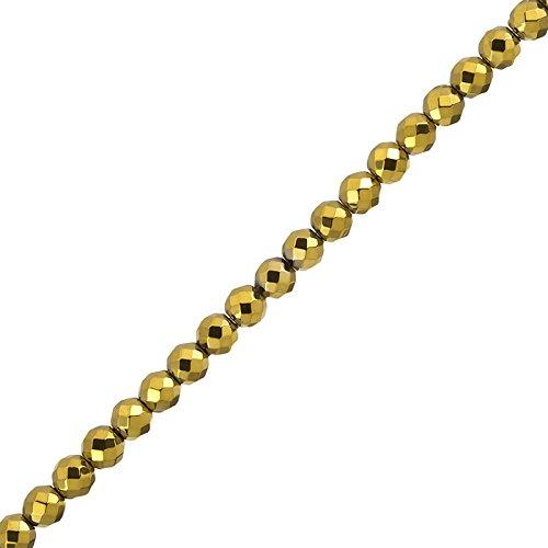 Placcato oro ematite sfaccettata 6mm semi-preziose