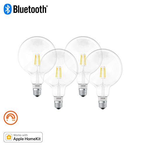 Osram Smart+ Lampadina LED a Filamento Bluetooth Compatibile con Apple Homekit e Android. Globo, E27, 50 W Equivalenti, Dimmerabile, 4 Pezzi