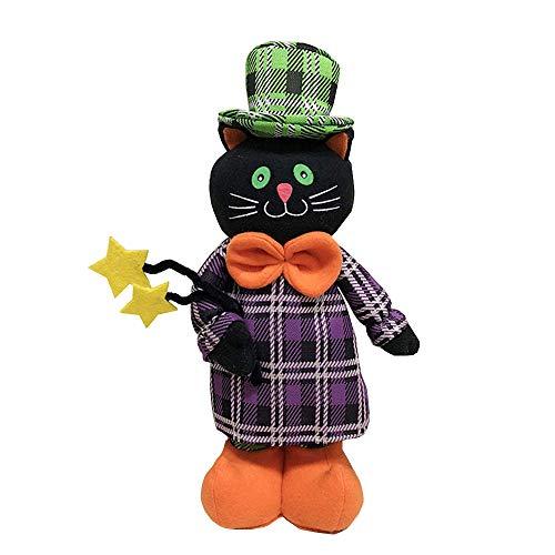 (Bolange Halloween Puppe Plüsch Puppe schöne erweiterbare Tuch schwarze Katze Hexe Halloween Dekoration - schwarze Katze)