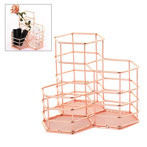BovoYa Desk Organizer 3 Compartment Metall Make-up Pinsel Organizer Schreibwaren Vorratsbehälter für Zuhause, Büro und Schule, Rose Gold
