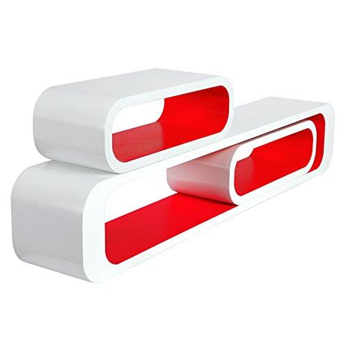 Woltu rg9230rt mensole da muro per cameretta mensola a cubo scaffale parete legno mdf moderno 3 pezzi diametro diverso rosso-bianco