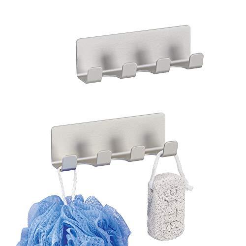 mDesign 2er-Set AFFIXX Hakenleiste -je 4 selbstklebende Badezimmerhaken für Rasierer, Schwämme etc.- aus rostfreiem Aluminium - praktische Haken ohne Bohren - silber